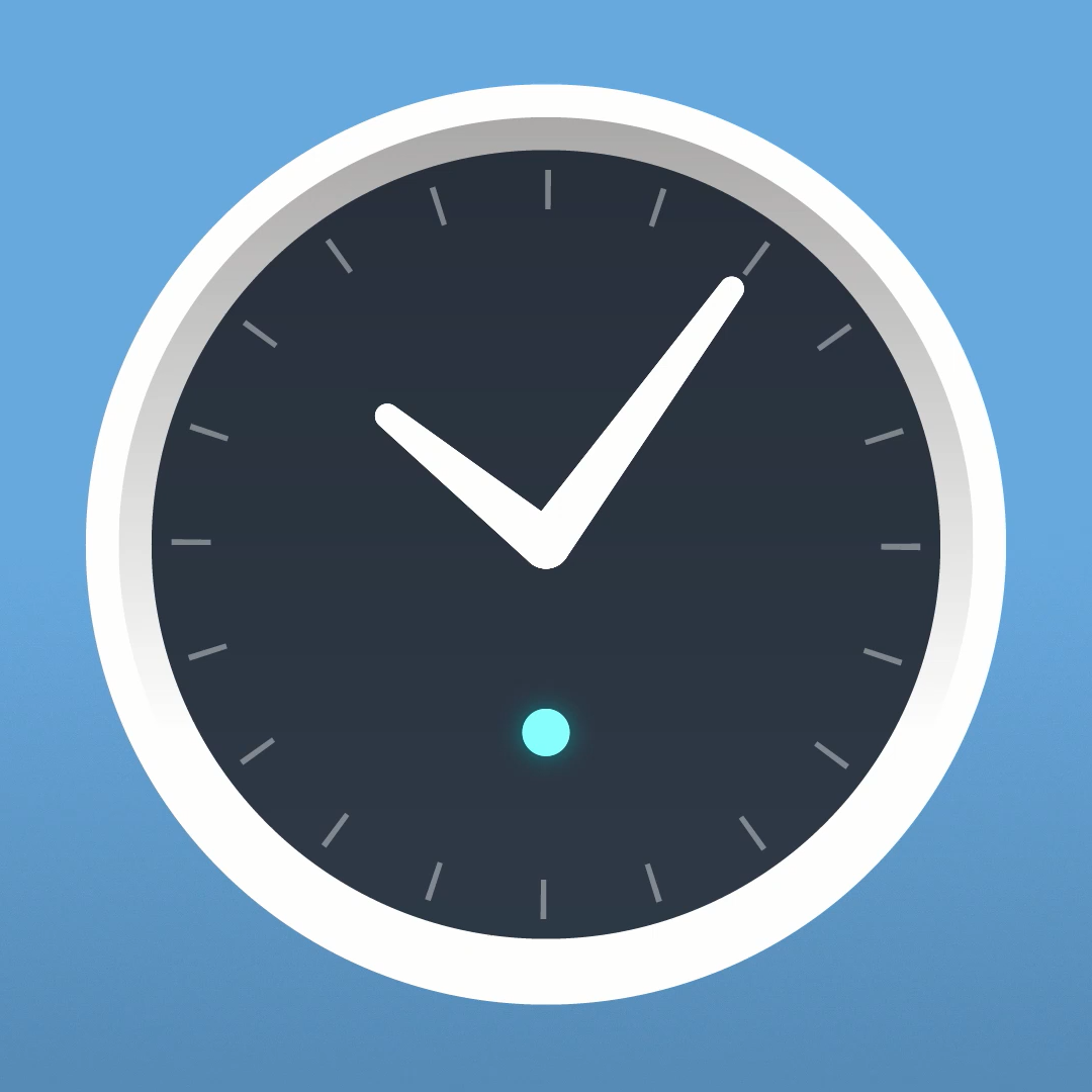 Graphic illustration of the Amazon Echo Wall Clock. The status LED is lit blue, indicating that the clock has successfully paired to a compatible echo device.
