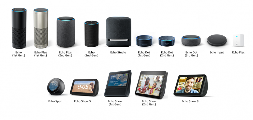 Images of all Amazon Echo devices that are compatible with the Amazon Echo Wall Clock. The Echo (1st gen), Echo Plus (1st gen), Echo Plus (2nd gen), Echo (2nd gen), Echo Studio, Echo Dot (1st gen), Echo Dot (2nd gen), Echo Dot (3rd gen), Echo Input, Echo Flex, Echo Spot, Echo Show 5, Echo Show (1st gen), Echo Show (2nd gen), and Echo Show 8 are displayed.