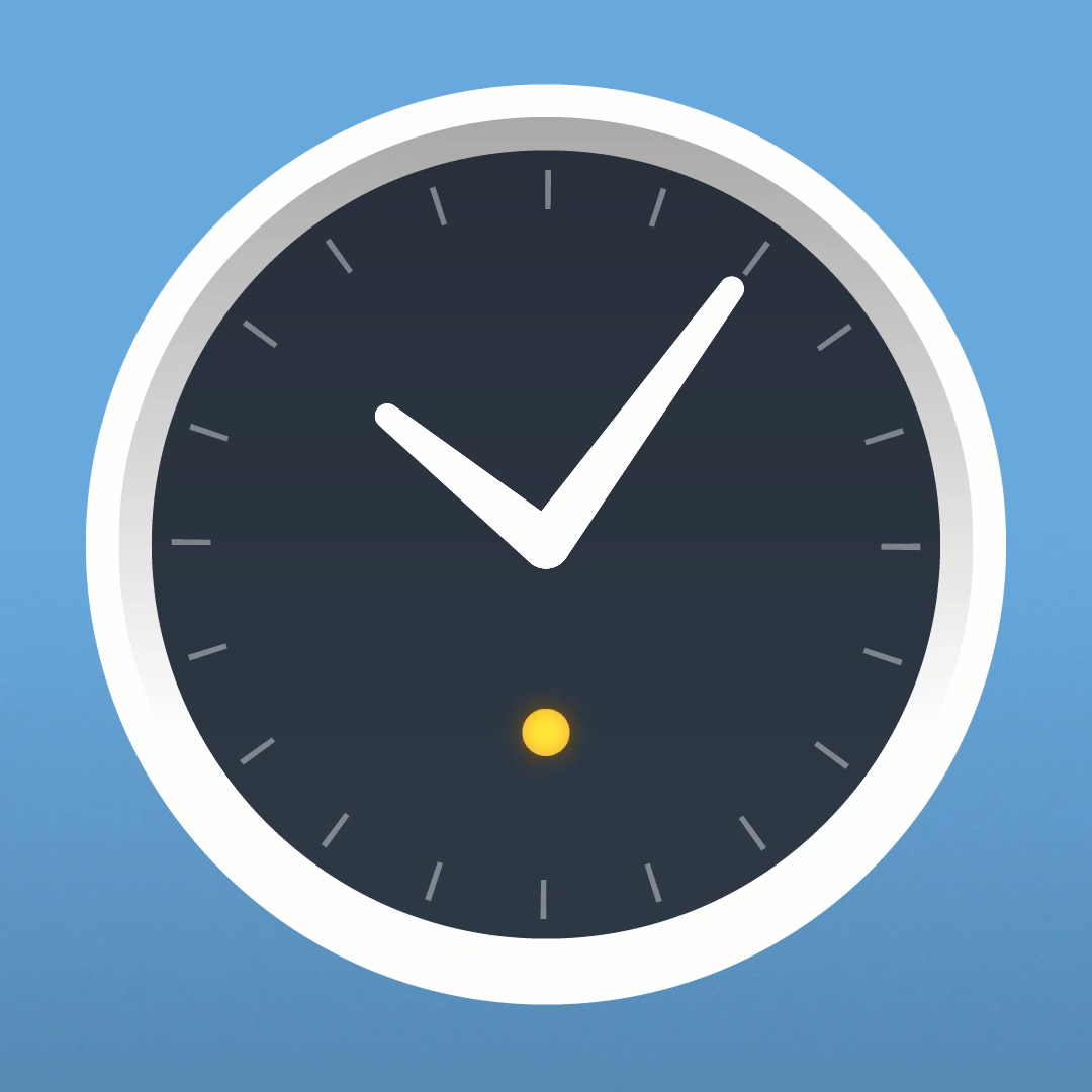 Graphic illustration of the Amazon Echo Wall Clock. The status LED is lit orange, indicating that the clock is in setup mode.