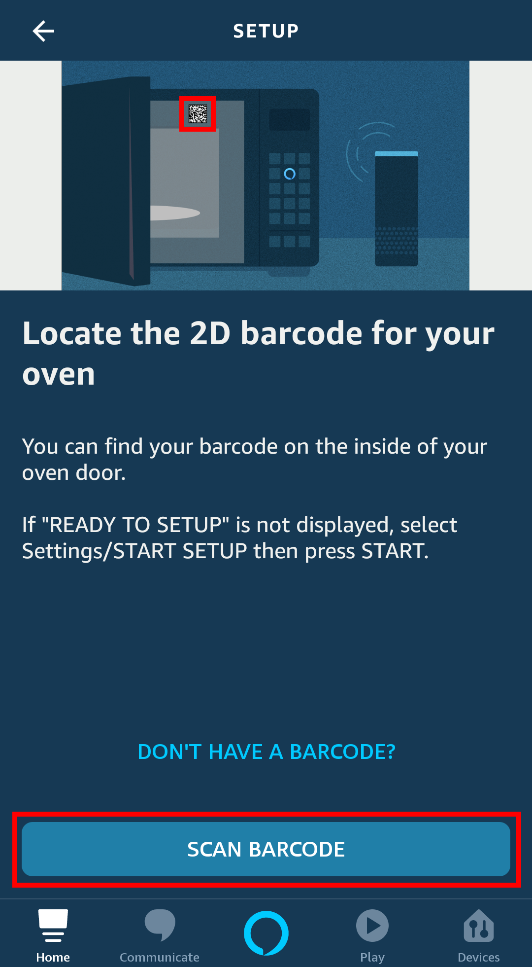 Screensot of the Amazon Alexa app. The screen is showing the 2d barcode scanning process to follow to add an Amazon Smart Oven to the Alexa app.